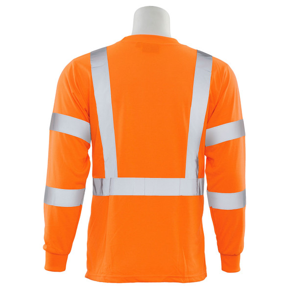 ERB Class 3 Hi Vis Orange Black Bottom Moisture Wicking Long Sleeve T-Shirt 9804S-O Back