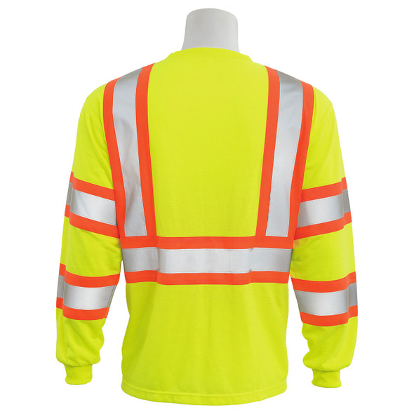 ERB Class 3 Hi Vis Lime Two-Tone Black Bottom Moisture Wicking Long Sleeve T-Shirt 9802SBC-L Back