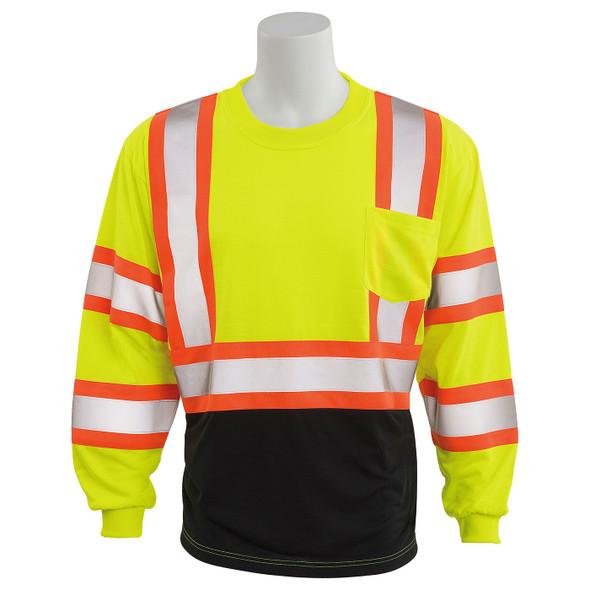 ERB Class 3 Hi Vis Lime Two-Tone Black Bottom Moisture Wicking Long Sleeve T-Shirt 9802SBC-L Front