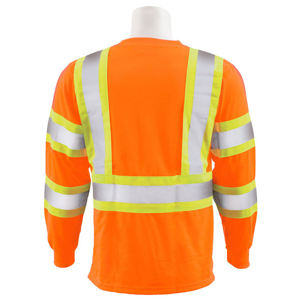 ERB Class 3 Hi Vis Orange Two-Tone Black Bottom Moisture Wicking Long Sleeve T-Shirt 9802SBC-O Back