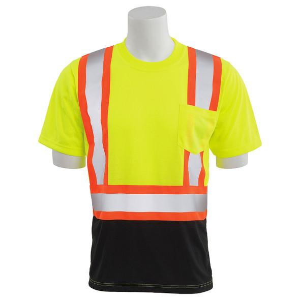 ERB Class 2 Hi Vis Lime Two-Tone Black Bottom Moisture Wicking T-Shirt 9601SBC-L Front