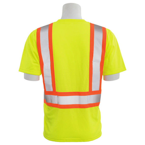 ERB Class 2 Hi Vis Lime Two-Tone Black Bottom Moisture Wicking T-Shirt 9604SBC-L Back