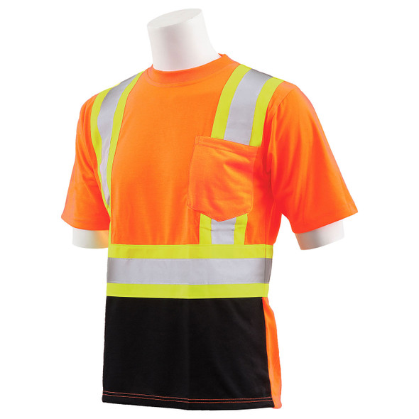 ERB Class 2 Hi Vis Orange Two-Tone Black Bottom Moisture Wicking T-Shirt 9604SBC-O Left Side Profile