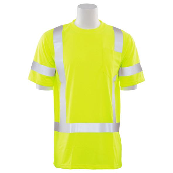 ERB Class 3 Hi Vis Lime Moisture Wicking T-Shirt 9801S-L Front
