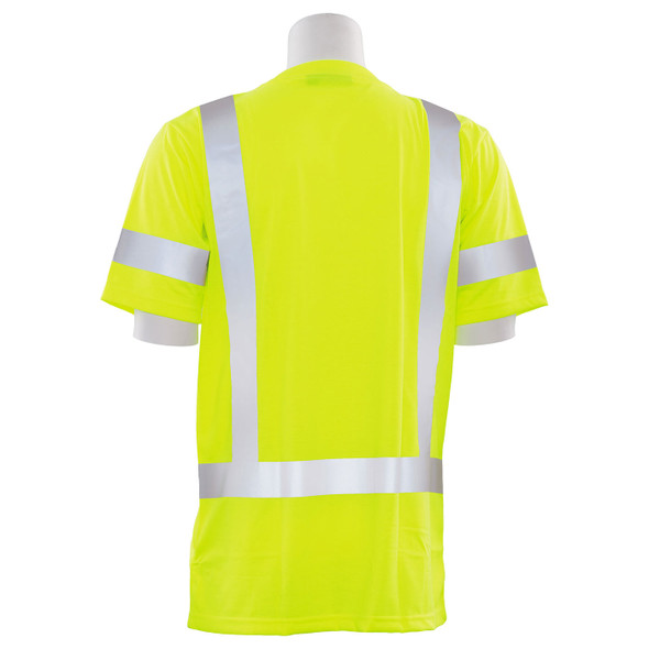 ERB Class 3 Hi Vis Lime Moisture Wicking T-Shirt 9801S-L Back