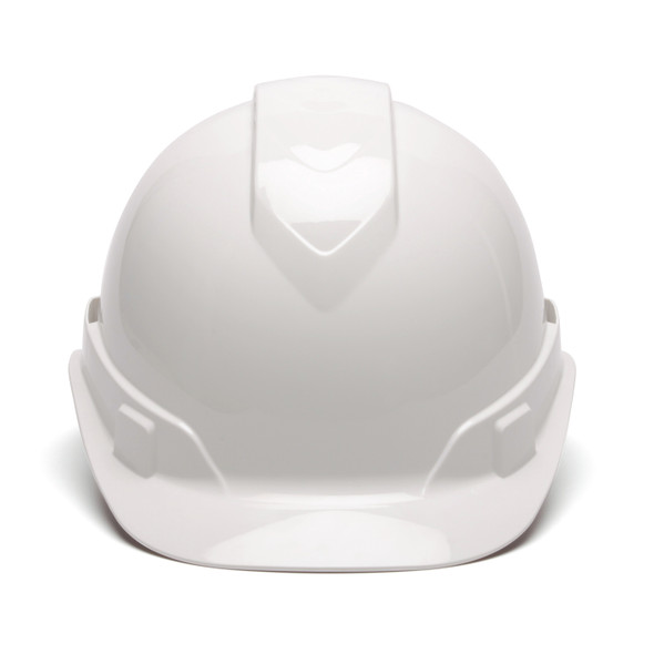 Box of 16 Pyramex Ridgeline Cap Style 4-Point Ratchet Hard Hats HP4410 White Front