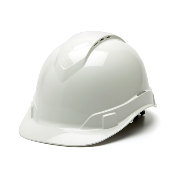 Box of 16 Pyramex Ridgeline Cap Style Vented 4-Point Ratchet Hard Hats HP44110V White Front Angled