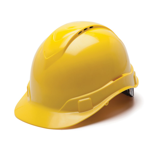 Box of 16 Pyramex Hi Vis Ridgeline Cap Style Vented 4-Point Ratchet Hard Hats HP44130V Yellow Front Angled