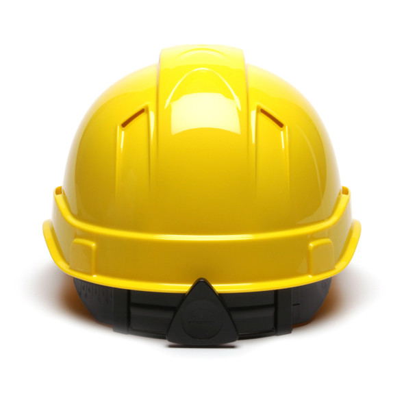 Box of 16 Pyramex Hi Vis Ridgeline Cap Style Vented 4-Point Ratchet Hard Hats HP44130V Yellow Back
