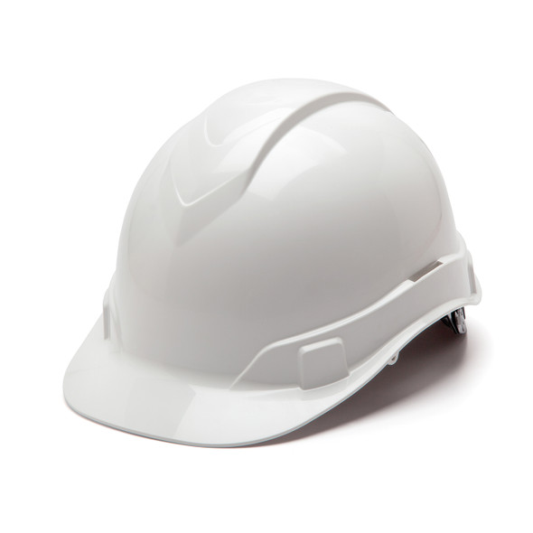 Box of 16 Pyramex Ridgeline Cap Style 6-Point Ratchet Hard Hats HP46110 White Front Angled