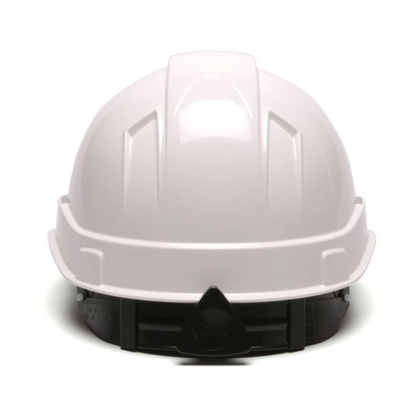 Box of 16 Pyramex Ridgeline Cap Style 6-Point Ratchet Hard Hats HP46110 White Back