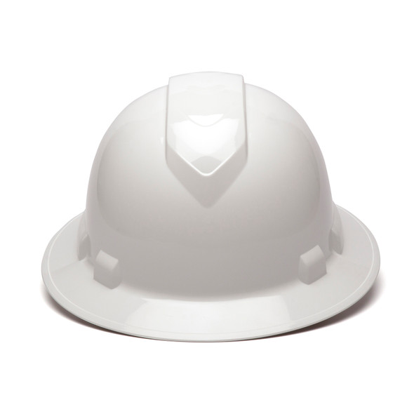 Box of 12 Pyramex Ridgeline Full Brim 4-Point Ratchet Hard Hats HP54110 White Front