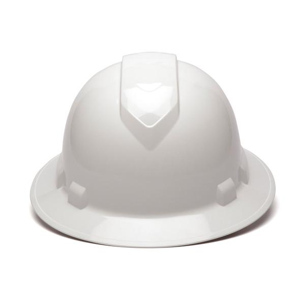 Box of 12 Pyramex Ridgeline Full Brim 4-Point Ratchet Hard Hats HP54110 White Front