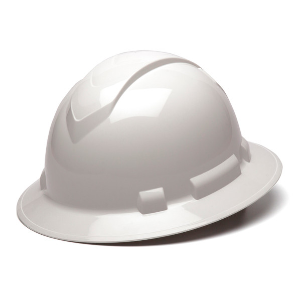 Box of 12 Pyramex Ridgeline Full Brim 4-Point Ratchet Hard Hats HP54110 White Front Angled