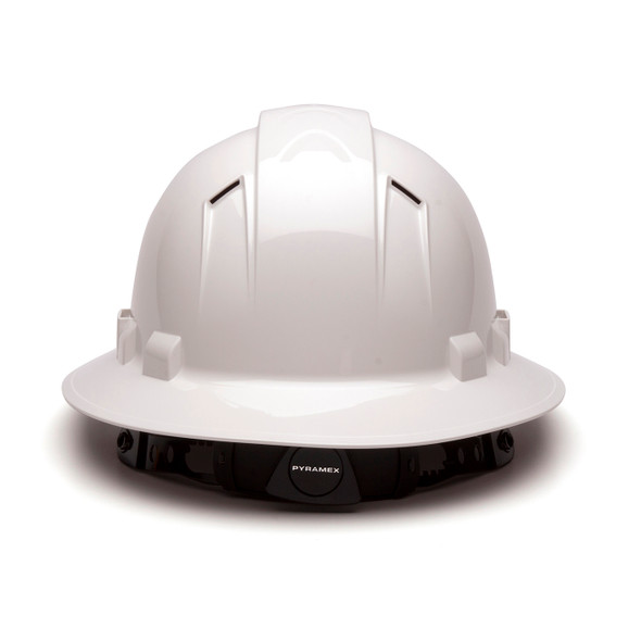 Box of 12 Pyramex Ridgeline Full Brim Vented 4-Point Ratchet Hard Hats HP54110V White Back