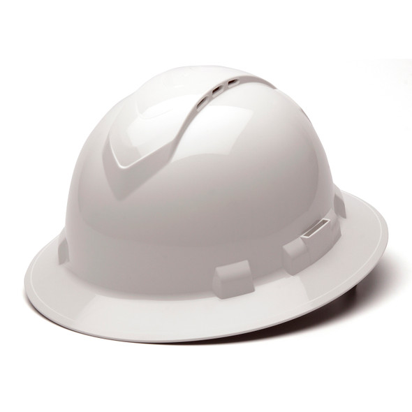 Box of 12 Pyramex Ridgeline Full Brim Vented 4-Point Ratchet Hard Hats HP54110V White Front Angled