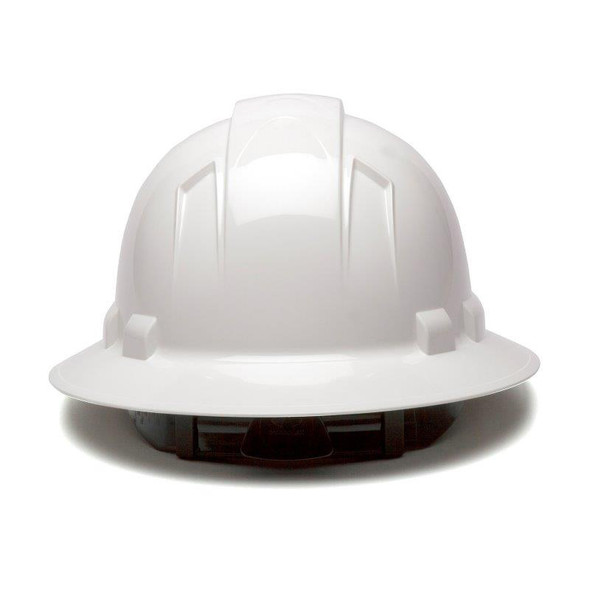 Box of 12 Pyramex Ridgeline Full Brim 6-Point Ratchet Hard Hats HP56110 White