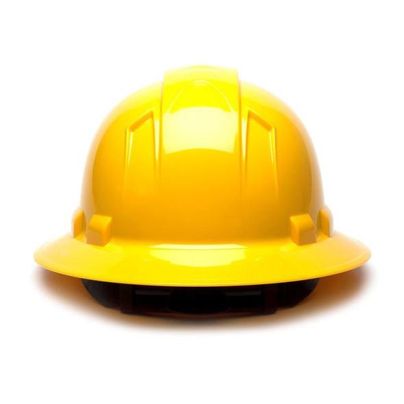 Box of 12 Pyramex Yellow Ridgeline Full Brim 6-Point Ratchet Hard Hats HP56130 Back