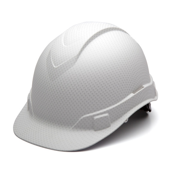 Box of 16 Pyramex Ridgeline Cap Style 4-Point Ratchet Hydro Dipped Hard Hats HP44116 Matte White Front Angled