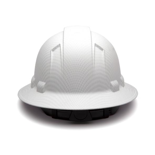 Box of 12 Pyramex Ridgeline Full Brim 4-Point Ratchet Hydro Dipped Hard Hats HP54116 Matte White Back