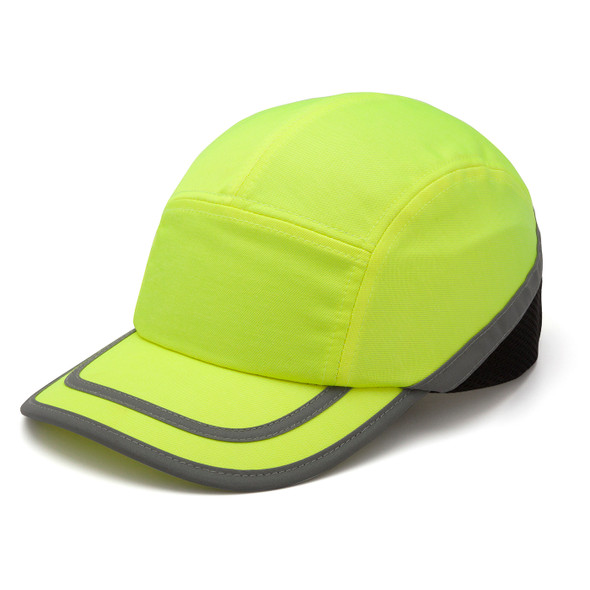 Box of 12 Pyramex Hi Vis Lime Baseball Bump Caps HP50031 Side