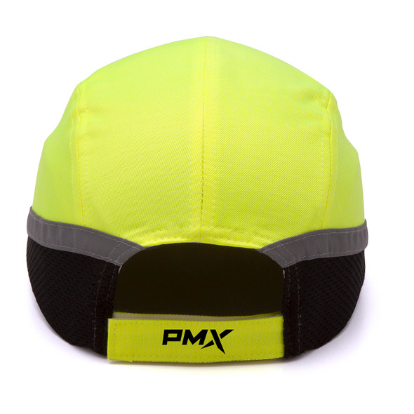 Box of 12 Pyramex Hi Vis Lime Baseball Bump Caps HP50031 Back