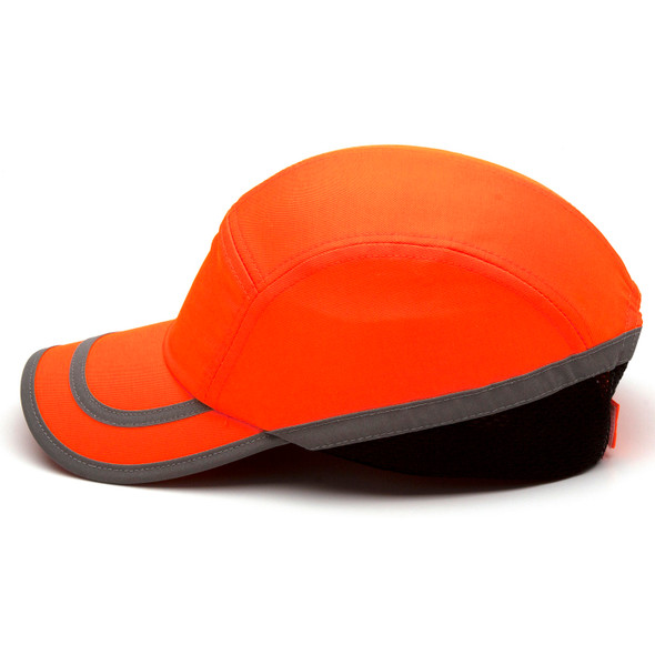 Box of 12 Pyramex Hi Vis Orange Baseball Bump Caps HP50041 Profile