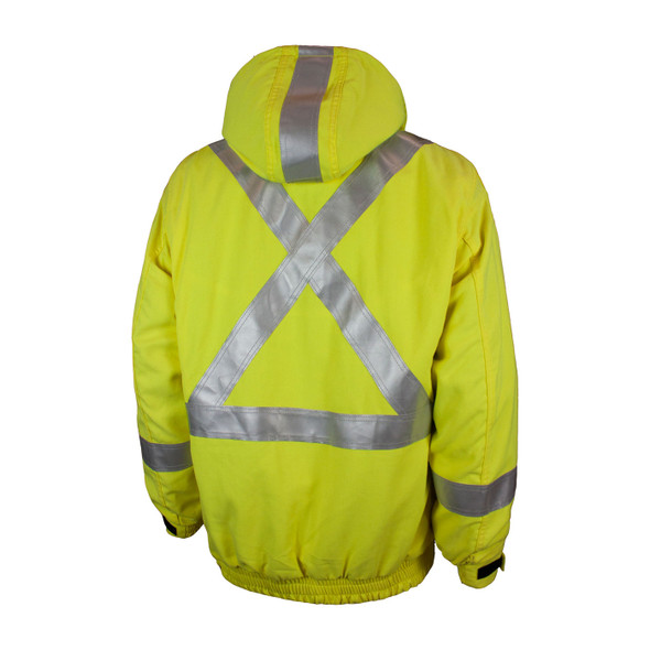 Tough Duck FR Class 3 Hi Vis Fluorescent Yellow 3-in-1 X-Back Bomber Jacket with Liner FM52311 Back