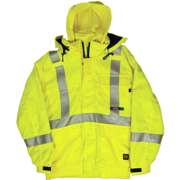 Tough Duck FR Class 3 Hi Vis Fluorescent Yellow 3-in-1 X-Back Bomber Jacket with Liner FM52311 Front