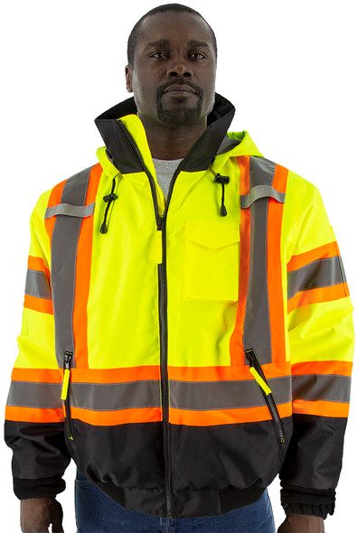 Majestic Class 3 Hi Vis Yellow DOT Waterproof Bomber Safety Jacket with Quilted Liner and Black Bottom 75-1315 (75-1315)