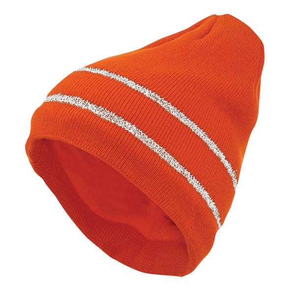Tough Duck Non-ANSI Hi Vis Acrylic Knit Cap with Reflective Stripes i45816-FL Orange