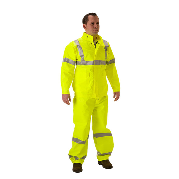 NASCO FR Class 3 Hi Vis Yellow ArcLite Air Rain Jacket 1701JFY Front (OVERALL SOLD SEPERATE)