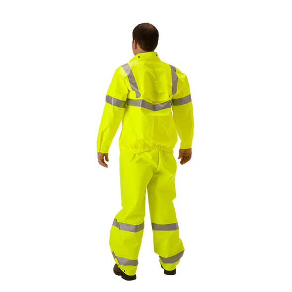 NASCO FR Class 3 Hi Vis Yellow ArcLite Air Made in USA Rain Jacket 1701JFY Back (OVERALL SOLD SEPERATE)