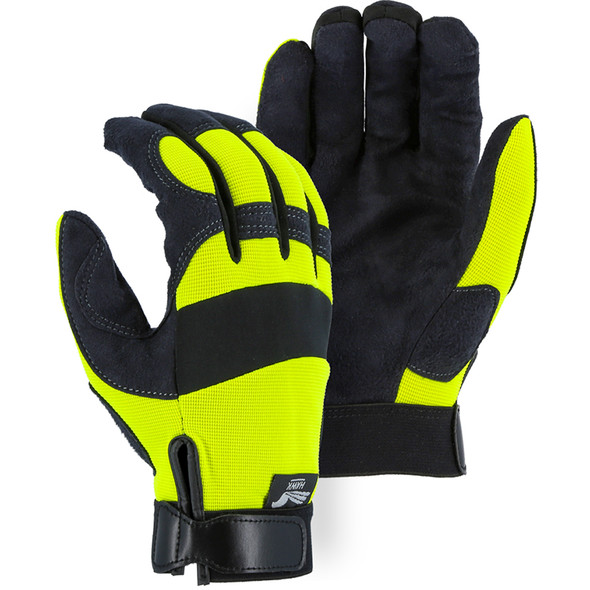 Majestic Box of 12 Pair Armor Skin Mechanics Glove with Hi Vis Knit Back 2137HY
