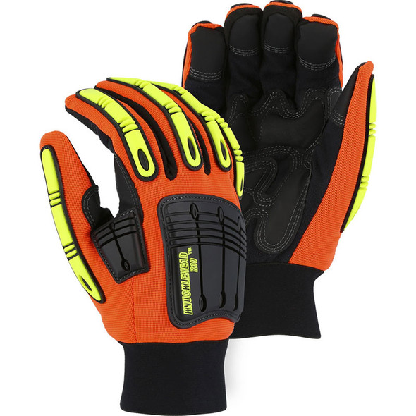 Majestic Box of 12 Pair Hi Vis Cut Level A3 Mechanics Gloves 21247 Orange