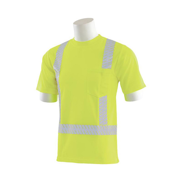 ERB Class 2 Hi Vis Lime Moisture Wicking T-Shirt with Segmented Reflective Tape 9006SEG-L Left Side