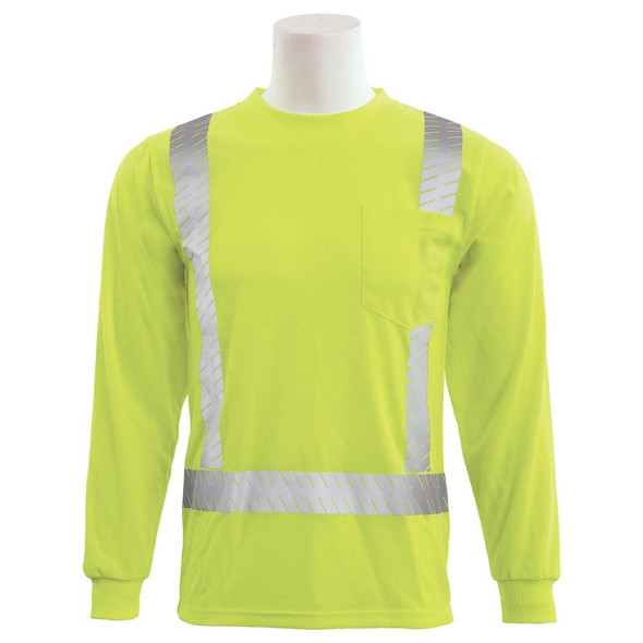 ERB Class 2 Hi Vis Lime Long Sleeve T-Shirt with Segmented Reflective Tape 9007SEG-L Front