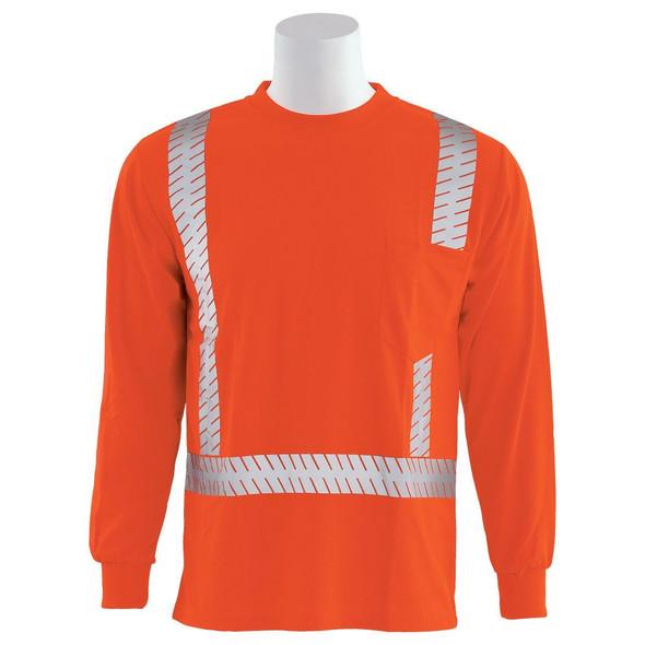 ERB Class 2 Hi Vis Moisture Wicking Orange Long Sleeve T-Shirt with Segmented Reflective Tape 9007SEG-O Front