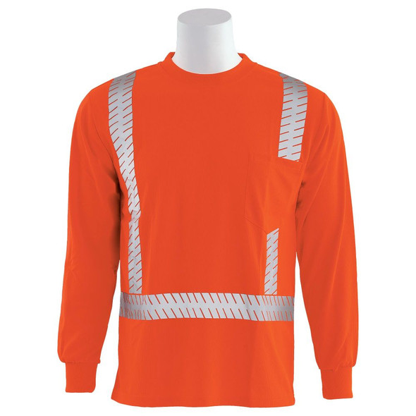 ERB Class 2 Hi Vis Moisture Wicking Orange Long Sleeve T-Shirt with Segmented Reflective Tape 9007SEG-O Front