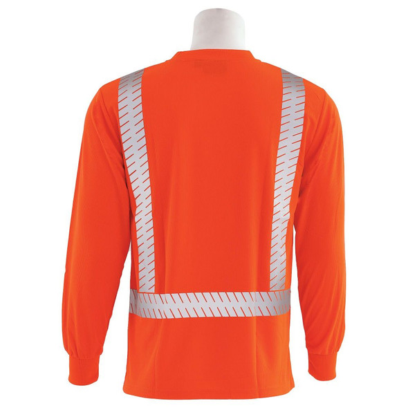 ERB Class 2 Hi Vis Moisture Wicking Orange Long Sleeve T-Shirt with Segmented Reflective Tape 9007SEG-O Back