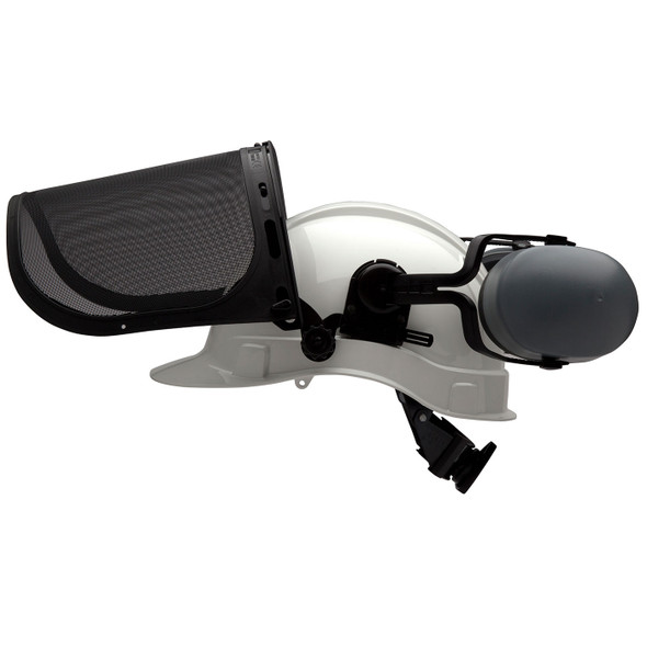 Pyramex Ridgeline White Forestry Kit with Cap Style Hard Hat Face Shield and Earmuff FORKIT10 Profile