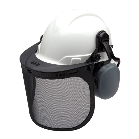 Pyramex Ridgeline White Forestry Kit with Cap Style Hard Hat Face Shield and Earmuff FORKIT10 with Mask