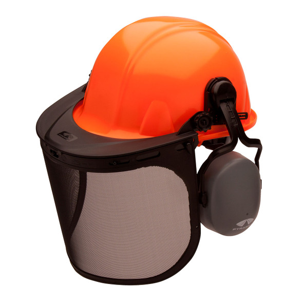 Pyramex Ridgeline Orange Forestry Kit with Cap Style Hard Hat Face Shield and Earmuff FORKIT41 Mask Down