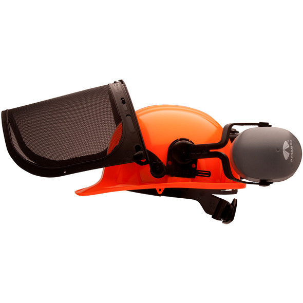 Pyramex Ridgeline Orange Forestry Kit with Cap Style Hard Hat Face Shield and Earmuff FORKIT41 Mask Up Profile