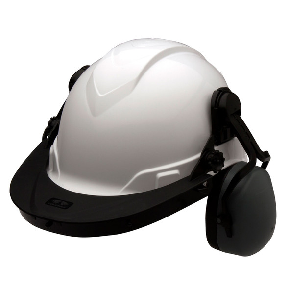 Pyramex Ridgeline Cap Style Hard Hat Face Shield Adapter HHABCMR Set with Ear Muffs
