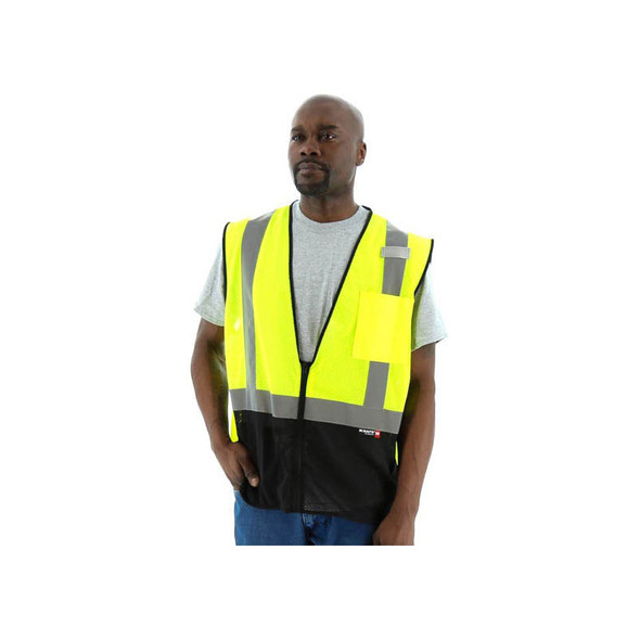 Majestic Class 2 Hi Vis Yellow Black Bottom Mesh Safety Vest 75-3213 Front