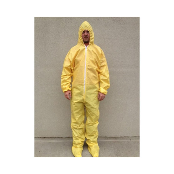 Case of 25 Sunrise SunShield Taped Seam Yellow Disposable Coveralls with Respirator S5414S