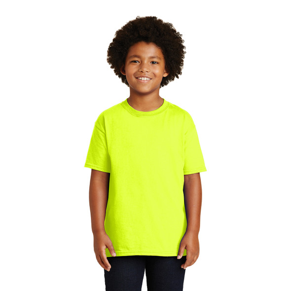 Gildan Non-ANSI Hi Vis Safety Youth Cotton Poly T-Shirt 2000B Safety Green