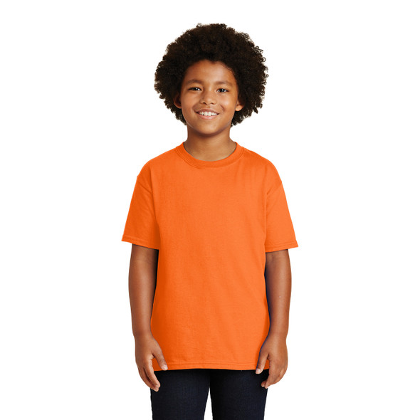 Gildan Non-ANSI Hi Vis Safety Youth Cotton Poly T-Shirt 2000B Safety Orange