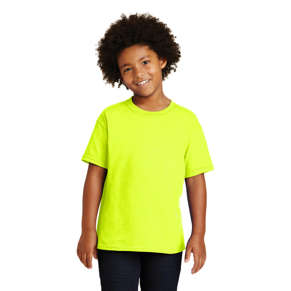 Gildan Non-ANSI Hi Vis Safety Youth Cotton Poly T-Shirt 5000B Safety Green